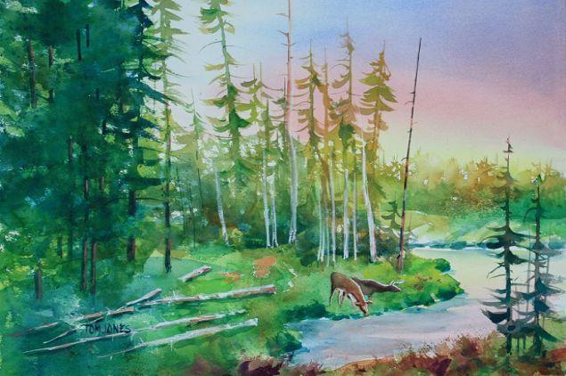 Simple Landscape Watercolor Paintings
