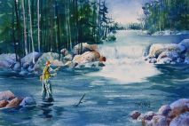 Fishing in Yellowstone Print